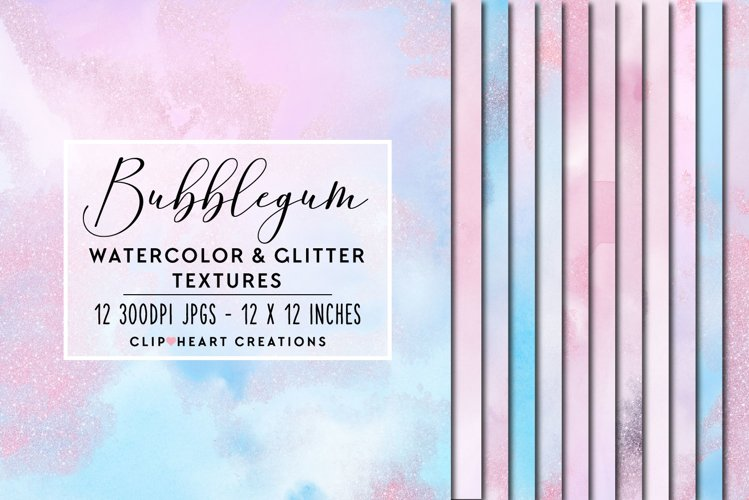 Blue and Pink Glitter Watercolor Digital Papers example image 1