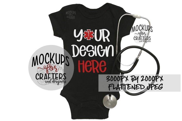 Baby Bodysuit Mock-Up, Nurse, Doctor, Stethoscope, Medical