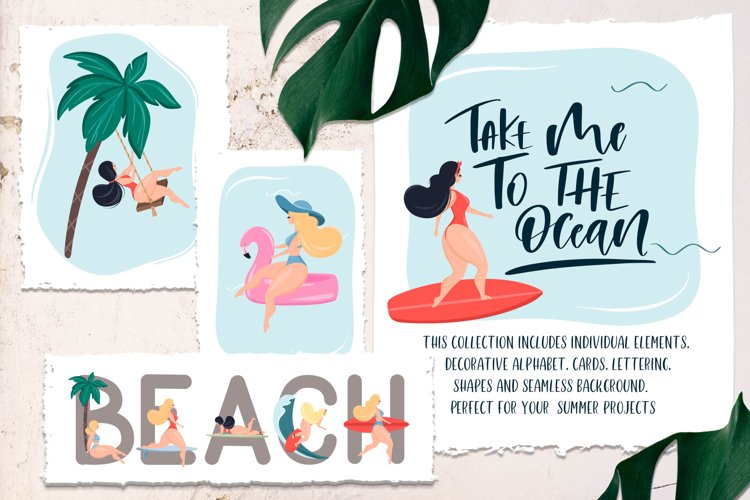 Take me to the ocean. Graphic set