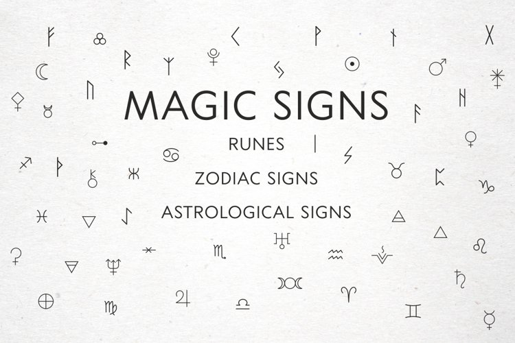 Magic signs, astrological signs, runes in vector, Alchemical example image 1