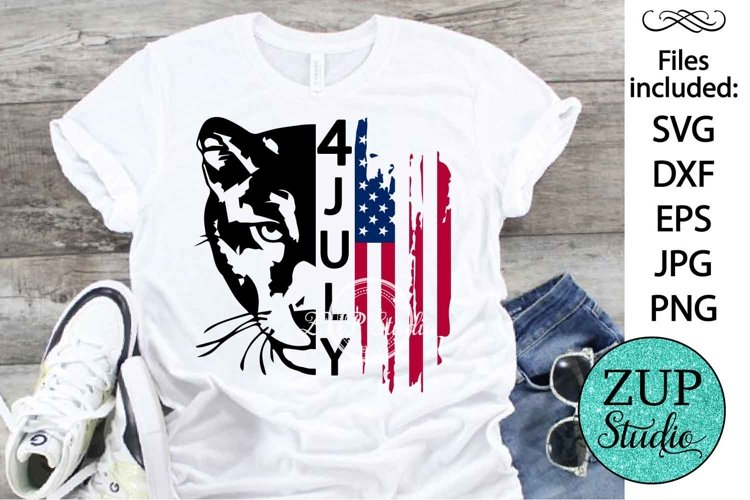 Panther with USA Flag Design Digital Cutting files 503 example image 1