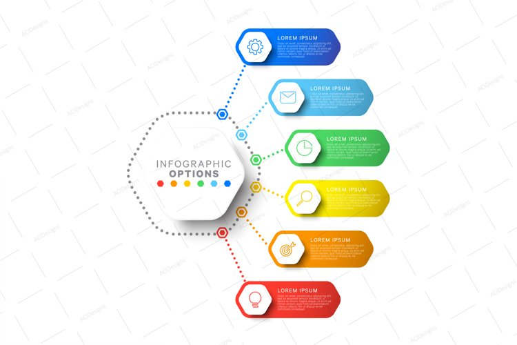 Infographic with hexagonal elements on white background example image 1