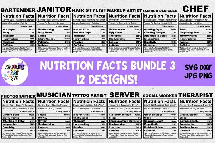 Nutrition Facts SVG Bundle Three