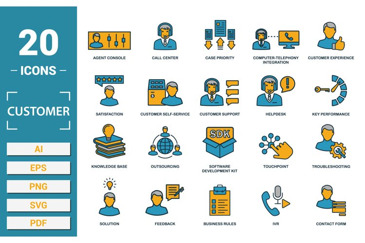 Customer service icon vector set in SVG, PNG, JPG, EPS, AI.