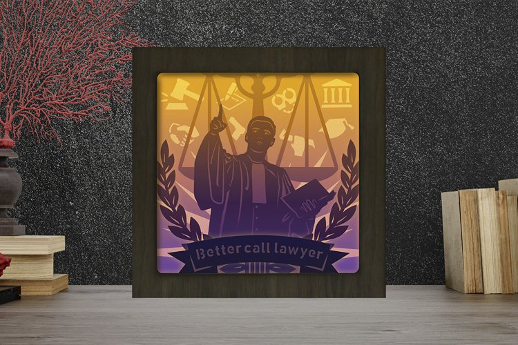 Lawyer Paper Cut Light Box - Shadow Box example image 1