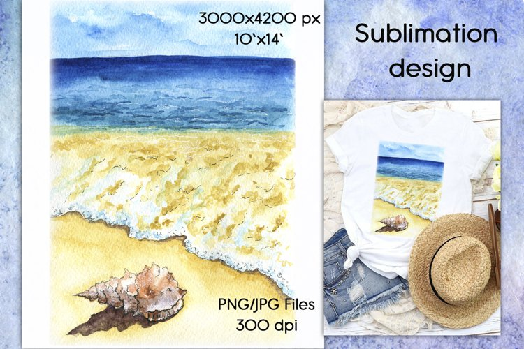 Sublimation Design Watercolor Beach Scene & seashell PNG/JPG example image 1