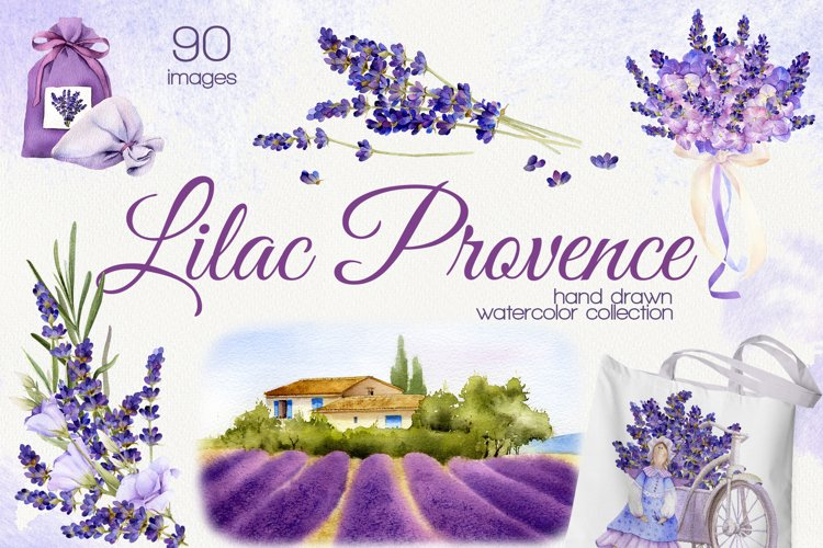 Lilac Provence lavender watercolor collection