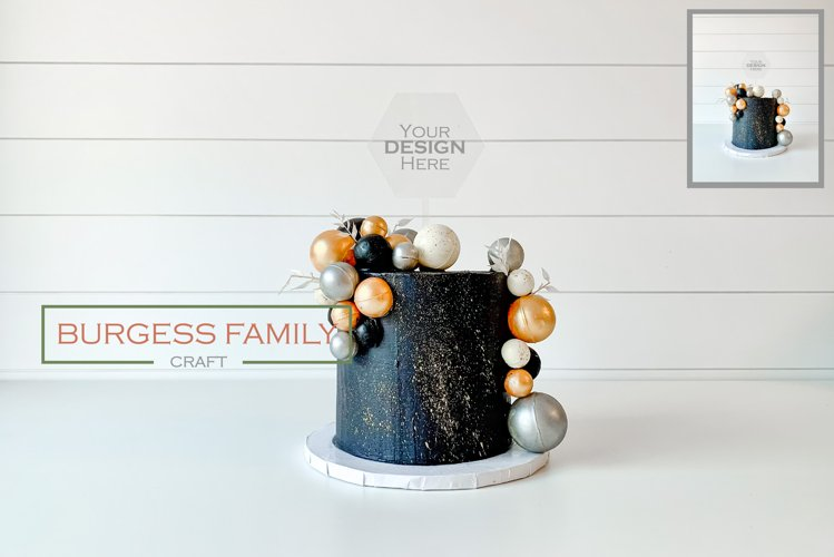 Mockup Dark Cake Hexagon Acrylic Topper | JPEG