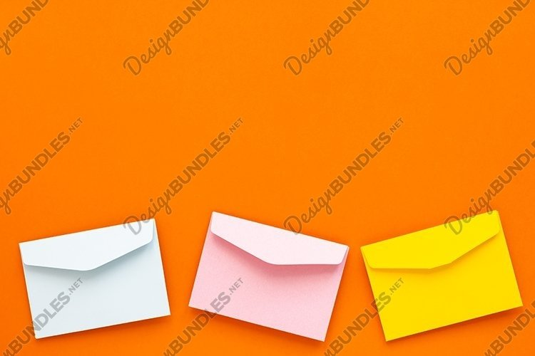 Empty colorful blank paper envelopes. example image 1