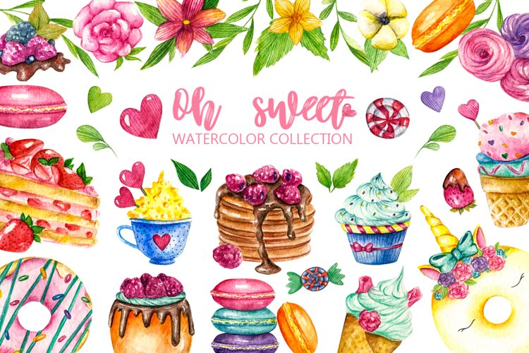 Sweets Confectionery watercolor clipart. Donat day clip art example image 1