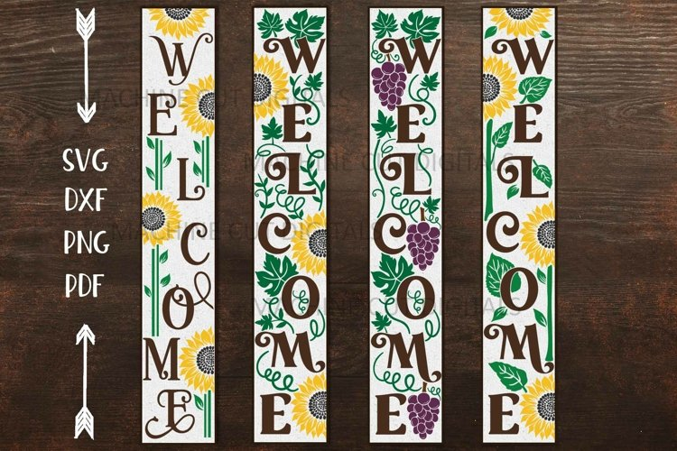 Sunflower Grapes welcome long sign summer sign svg