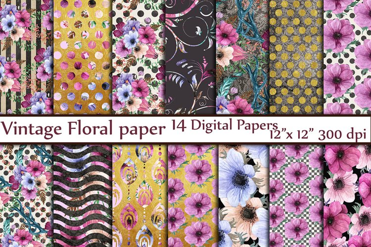 Floral digital paper pack example image 1