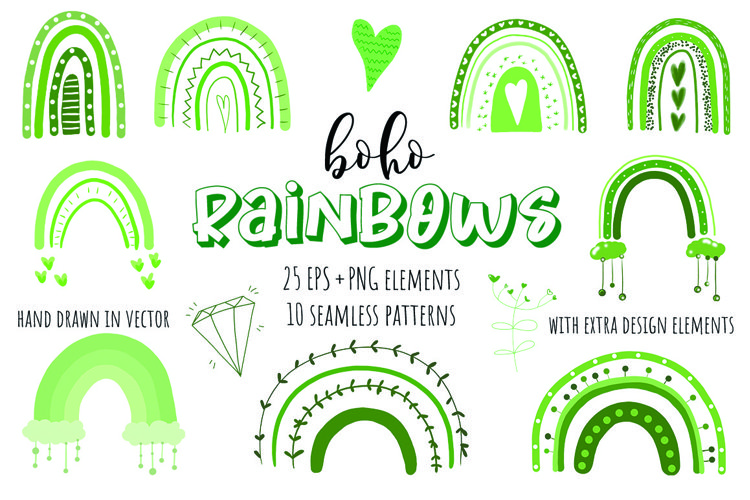 Cute Boho Rainbows Vector Collection. Green clipart example image 1