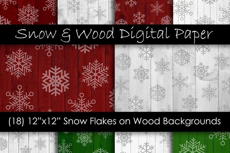 Red & Green Christmas Snowflake Digital Paper Pack
