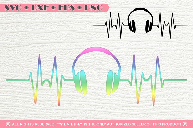 Earphones | Music| Hearbeat | SVG DXF PNG EPS Cutting File example image 1
