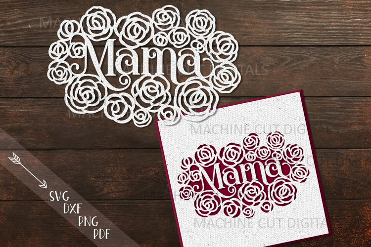 Mama Mothers Day card paper cut template svg dxf example image 1
