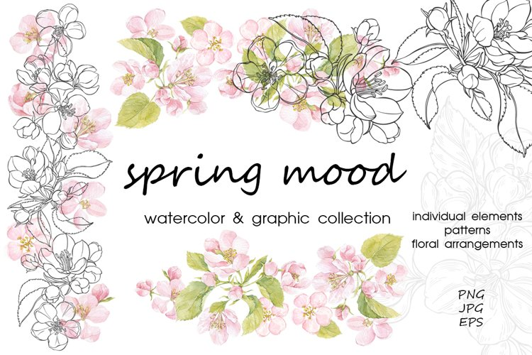 Spring mood. Watercolor & graphic. example image 1