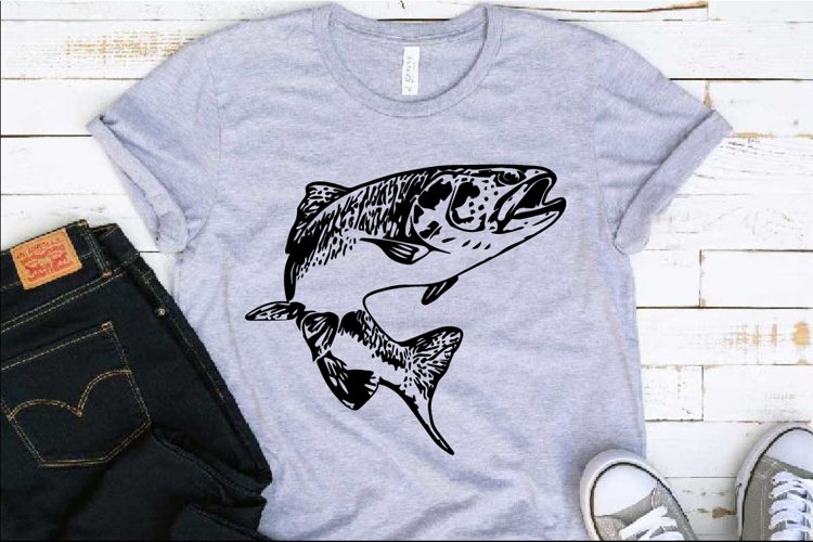 Trout Fish SVG Fishing Logo Fish Fresh Water Hunting 1227S