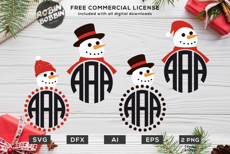 Christmas Snowman SVG - Christmas Monogram SVG Bundle example image 1