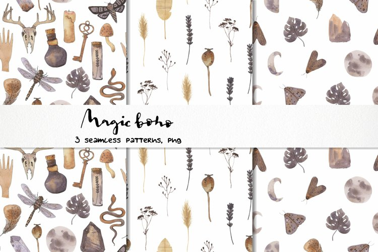 boho watercolor seamless pattern nuetral magic meadows png