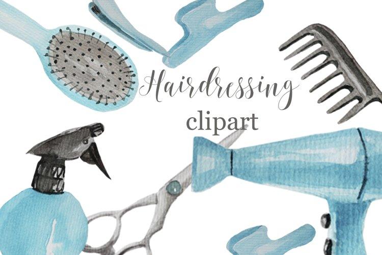 Barber watercolor digital clipart