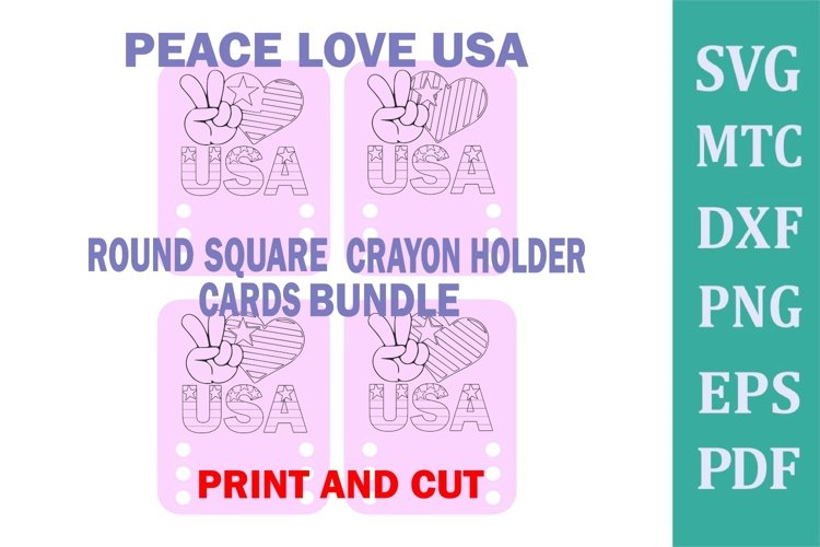 Crayon Holder ROUND SQUARE 3 Crayons Peace Love USA