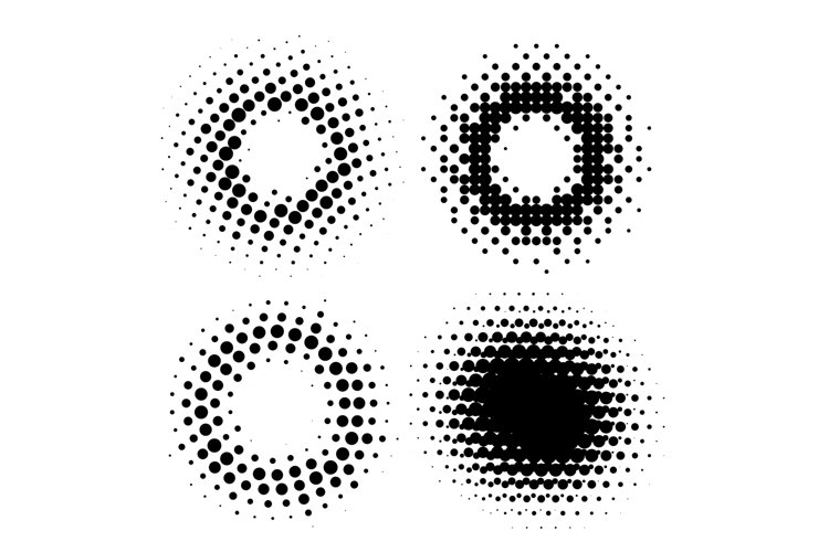 Abstract Halftone Circular Radial Design Elements example image 1