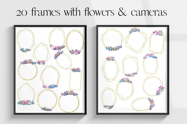 20 Geometric Frames, Frames with Vintage Flowers and Camera