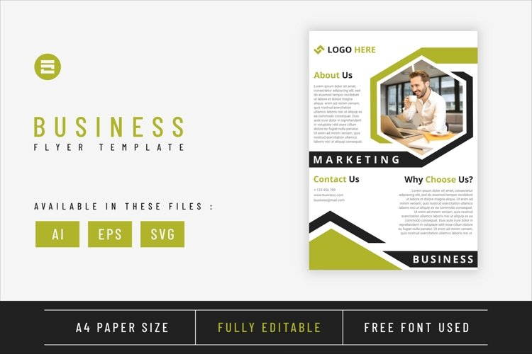 Business flyer template with green lime geometry shapes A4 example image 1