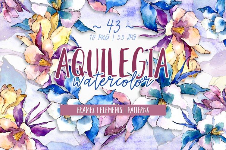 Beautiful aquilegia PNG watercolor set example image 1