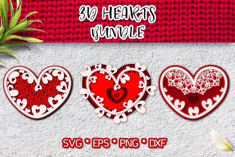 3d hearts Valentines Day bundle svg