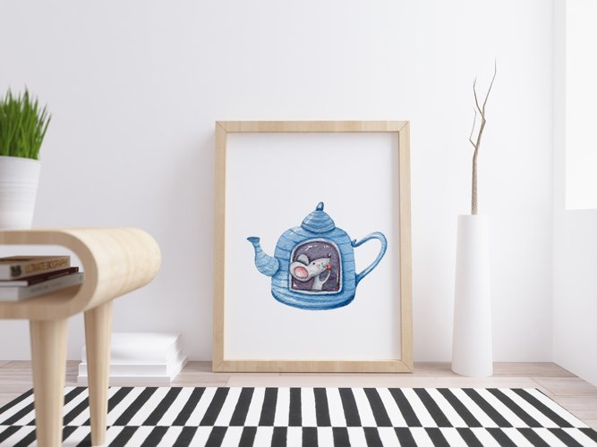 Watercolor cute forest animals clipart. Tea time collection example 5