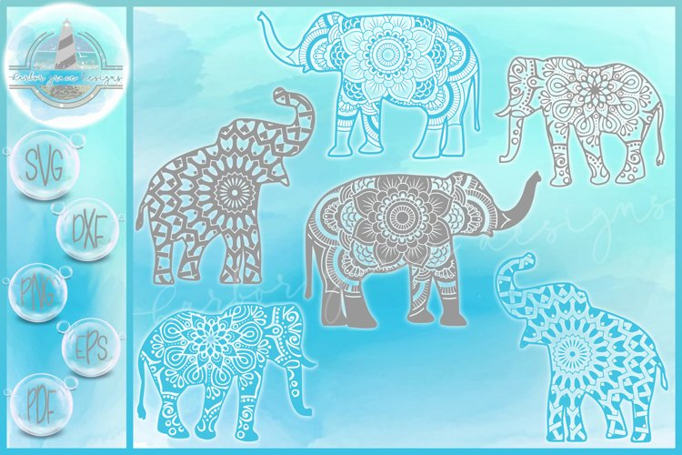 Elephant Mandala SVG Bundle | Elephant Zentangle SVG