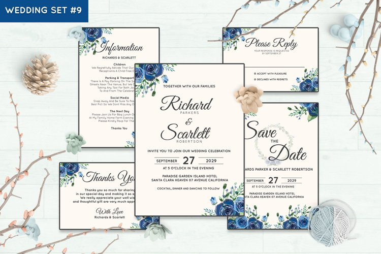Wedding Invitation Set #9 Watercolor Floral Flower Style