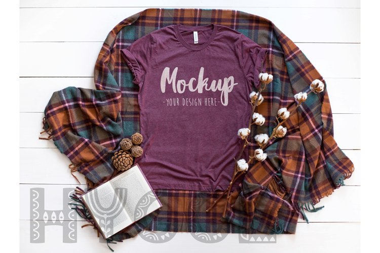 Tshirt Mockup Bella Canvas 3413 Maroon Triblend Tshirt Mock example image 1