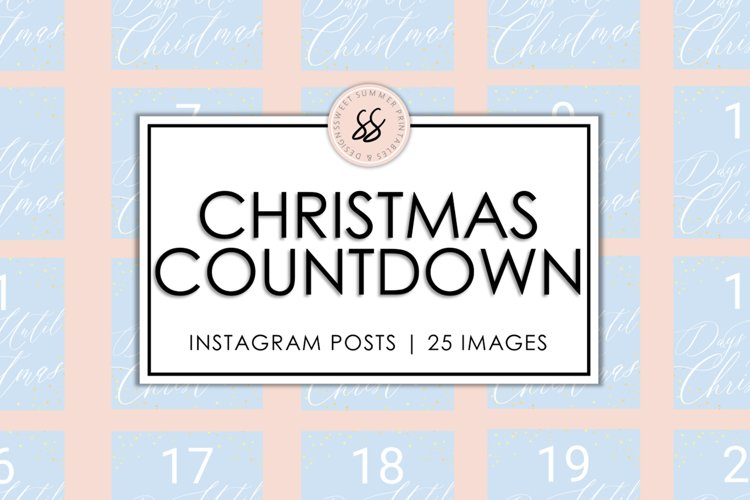 Christmas Countdown Ice Blue & Gold Instagram Posts