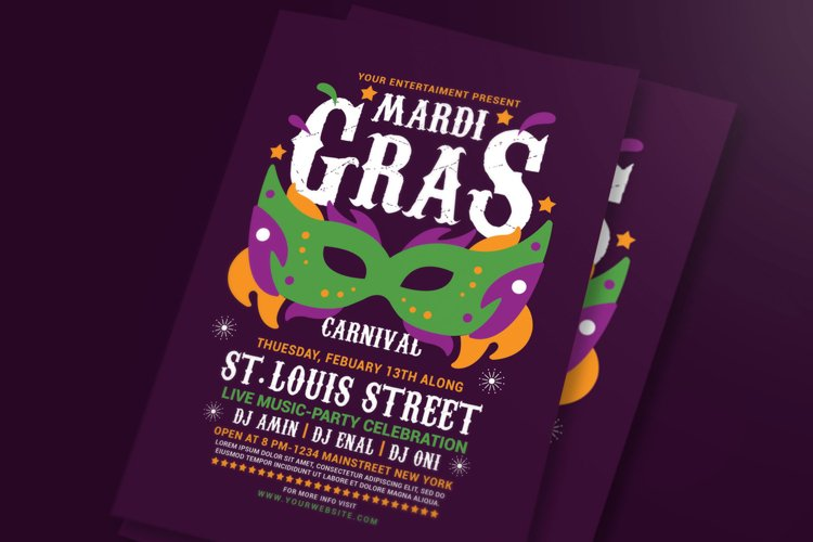 Mardi Gras Flyer Template example image 1