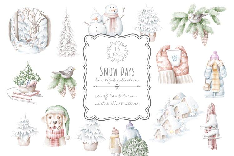 Winter illustrations set