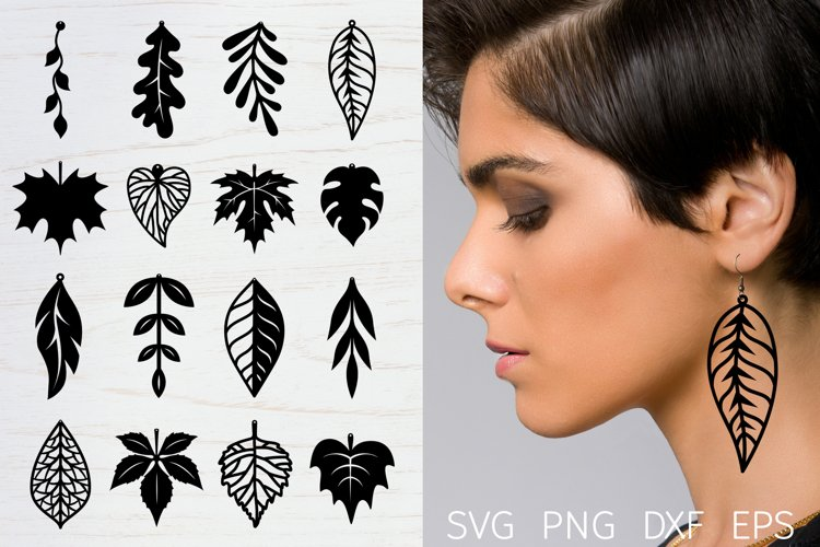 Leaf earrings, earrings svg bundle, earring template leather example image 1