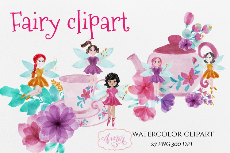 Watercolor fairy clipart for invitations, magical clipart example image 1