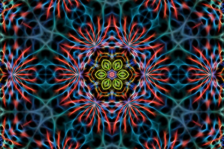 Abstract multicolored fractal neon kaleidoscope background example image 1