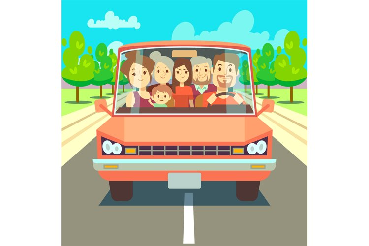 Happy family traveling by car driving on road. Vector illust example image 1