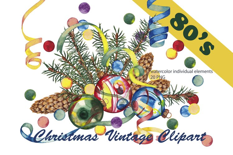 Christmas clipart 80's Watercolor individual elements PNG example image 1