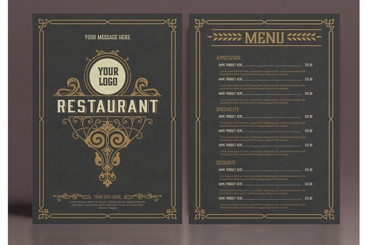 Restaurant Menu Layout with Ornamental Elements example image 1