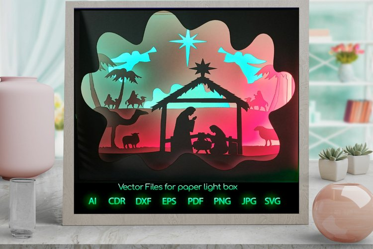 Nativity Christmasi Light box PNG SVG DXF CDR template Paper example image 1