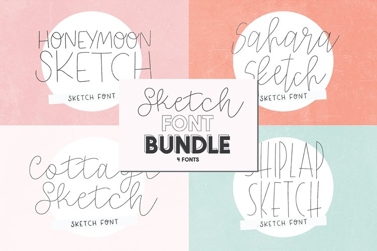 SKETCH FONT BUNDLE - 4 Single Line Fonts example image 1