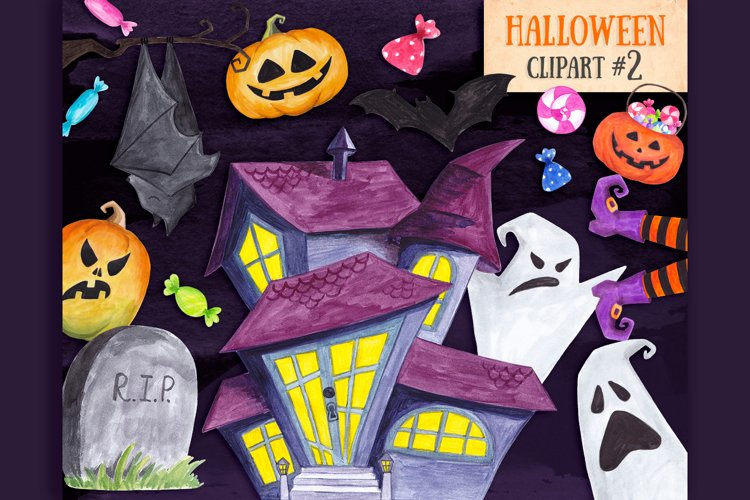 Happy halloween clipart Pumpkin Ghost Trick or treat decor example image 1