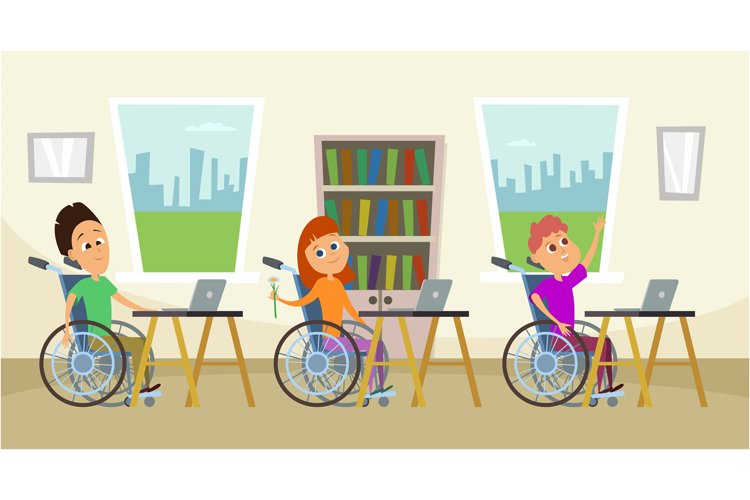 Disabled people in wheelchair sitting at the school desk. Ki example image 1