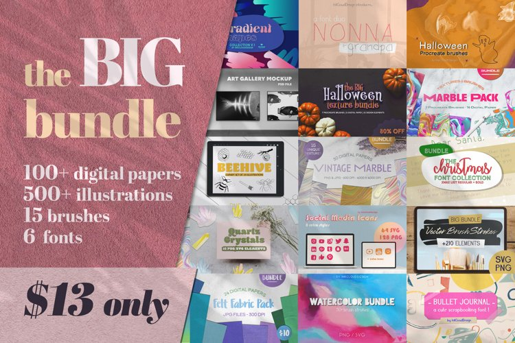 BIG CRAFT Bundle Texture Digital Papers Brushes Fonts example image 1
