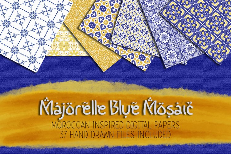 Majorelle Blue Mosaic Digital Paper Set example image 1